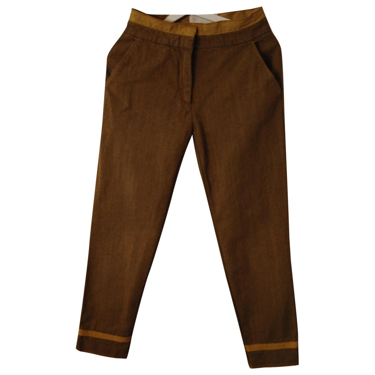 Maison Martin Margiela \N Khaki Cotton Trousers for Women 42 IT