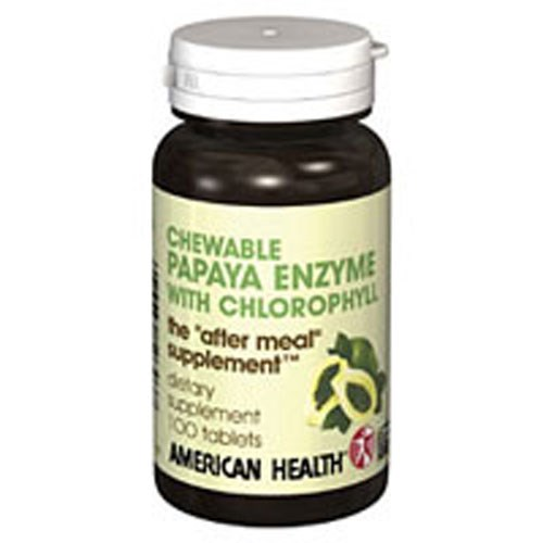 Papaya Enzyme With Chlorophyll 100 Chewable Tablets by American Health