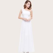 Applique One Shoulder Ruched Bodice Prom Dress