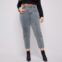 Plus High Waist Cropped Jeans Without Belt