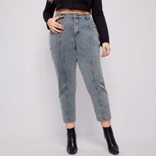 Crop Jeans mit hoher Taille ohne Guertel