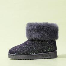 Glitter Decor Fluffy Boots