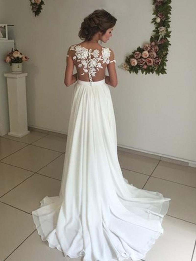 Ericdress Illusion Neck Lace Beach Wedding Dress