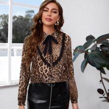 Blusas Volante fruncido Leopardo Elegante