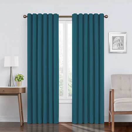Eclipse Bradley Absolute Zero Velvet 100% Blackout Back-Tab Single Curtain Panel, One Size , Blue