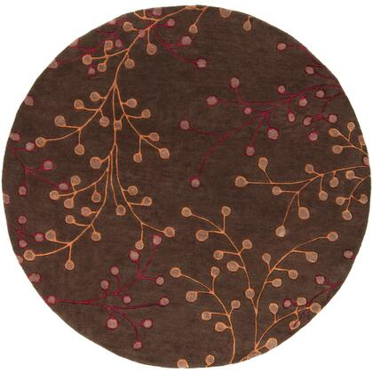 Athena Collection ATH5052-6RD Round 6' Area Rug  Hand Tufted with Wool Material in Brown and Red