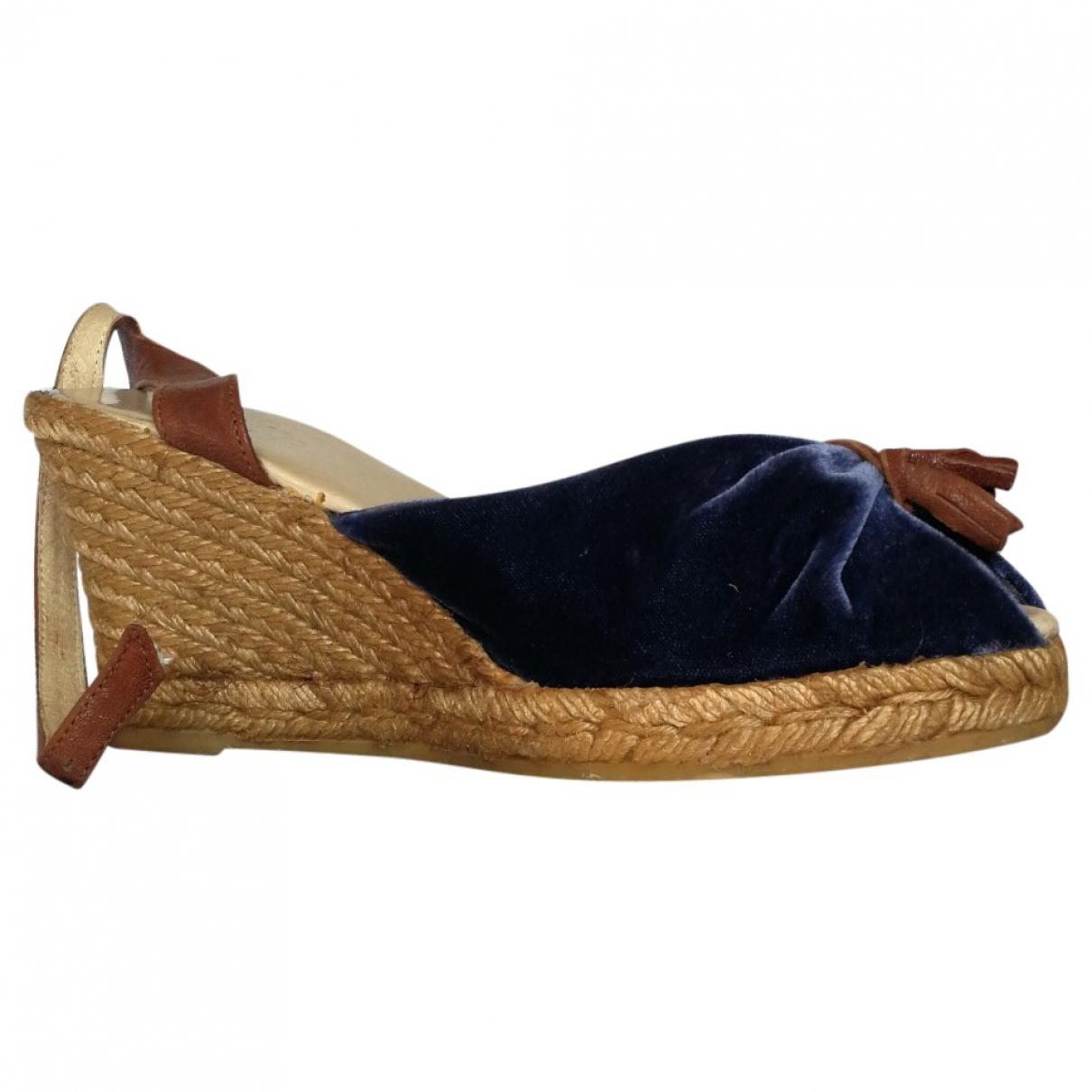 Arfango - Sandales   pour femme en velours - bleu