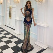 Zip Backless Mermaid Hem Sequin Maxi Prom Dress