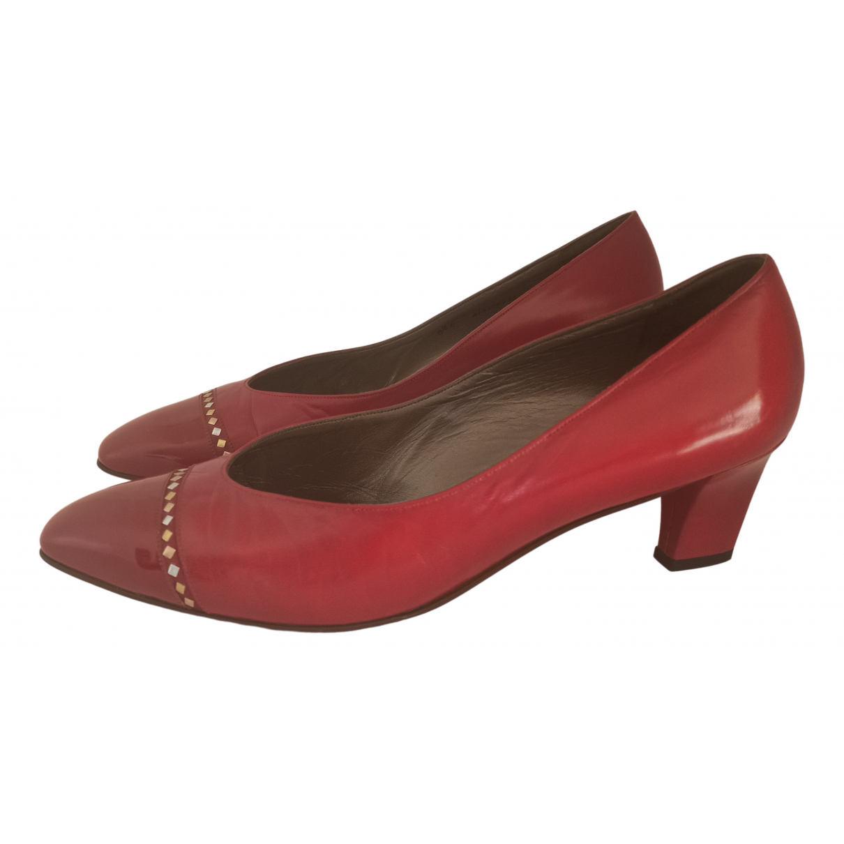 Bally N Red Leather Heels for Women 40 EU