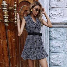 Plaid Print Double Breasted Ruffle Hem Belted Blazer Dress