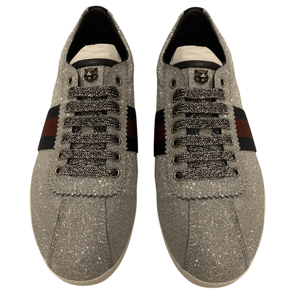 Gucci Ace Silver Glitter Trainers for Women 38 EU