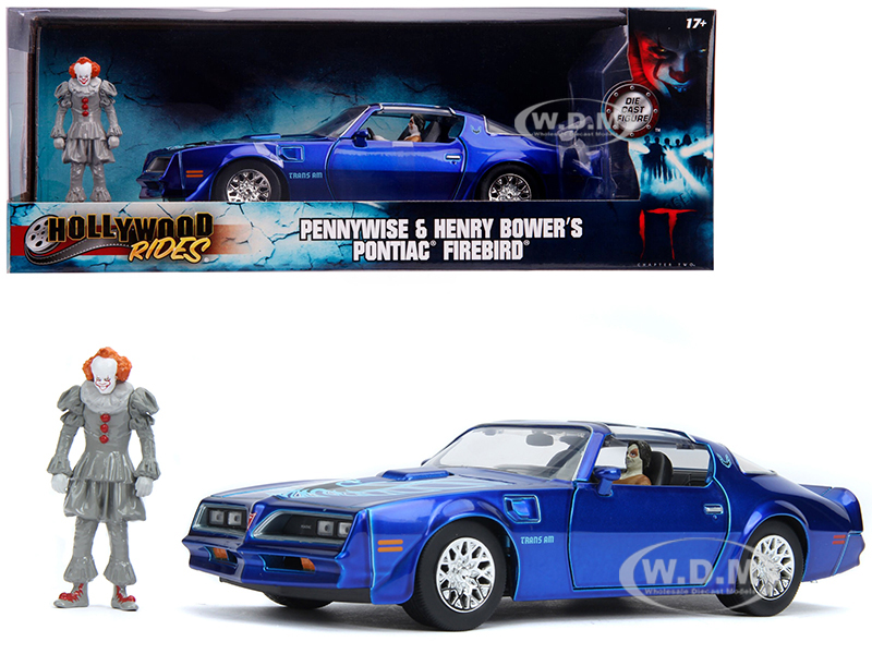 Henry Bowers Pontiac Firebird Trans Am Candy Blue with Pennywise Diecast Figurine