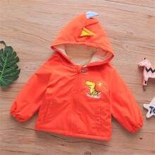 Toddler Boys Cartoon Graphic 3D Design Hooded Lined Windbreaker Jacket