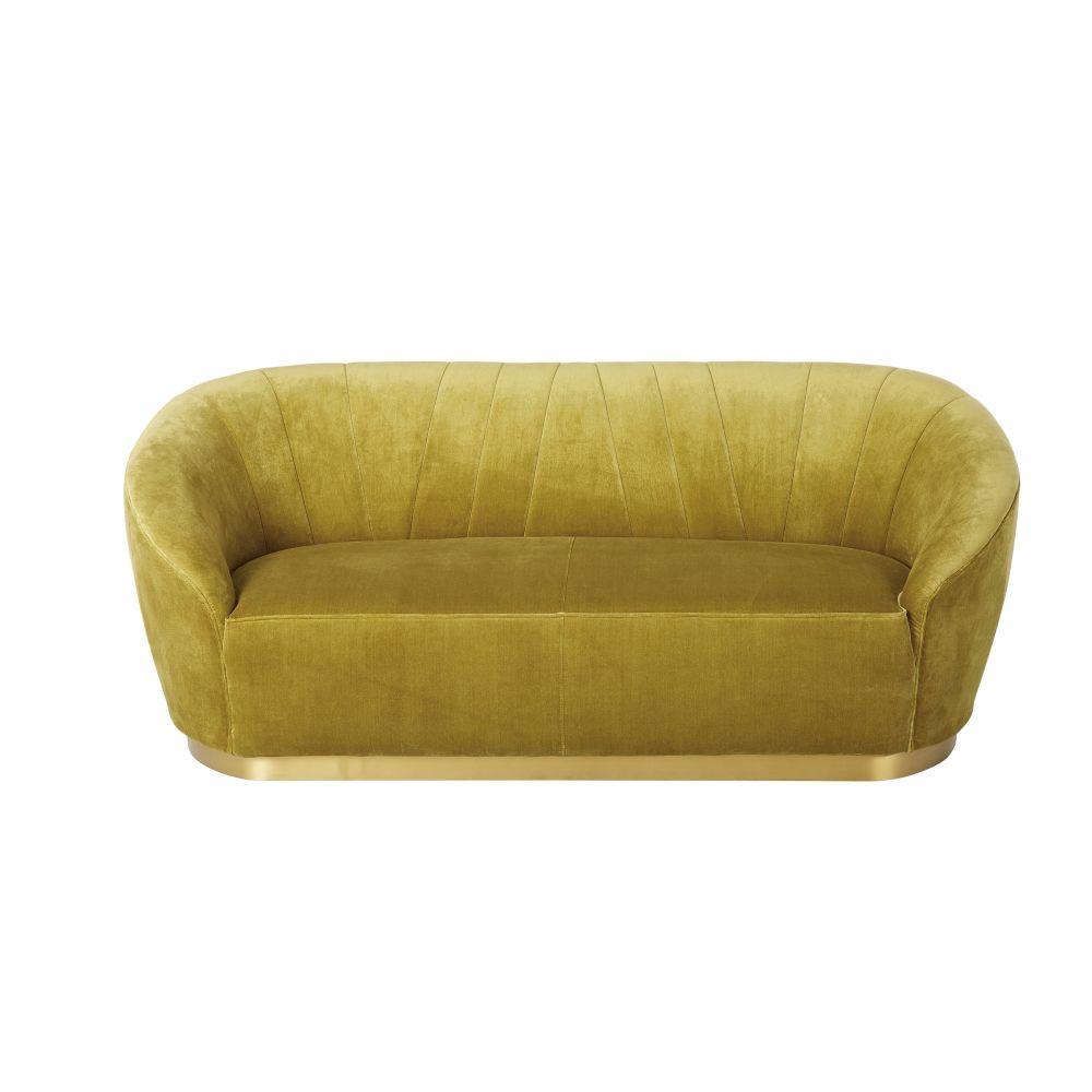 3-Sitzer-Sofa mit ockergelbem Kurzflor-Samtbezug Lester