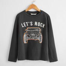 T-Shirt mit Buchstaben und Auto Muster
