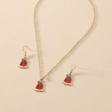 1 pieza collar con diseño de campana de Navidad con 1 par pendientes