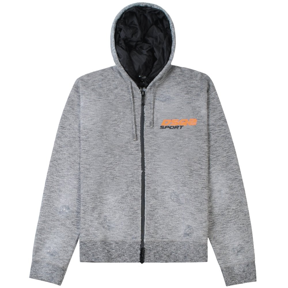 Dsquared2 Sport Logo Zip Hoodie Colour: GREY, Size: EXTRA LARGE
