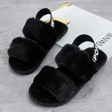 Double Band Slingback Fluffy Sandals