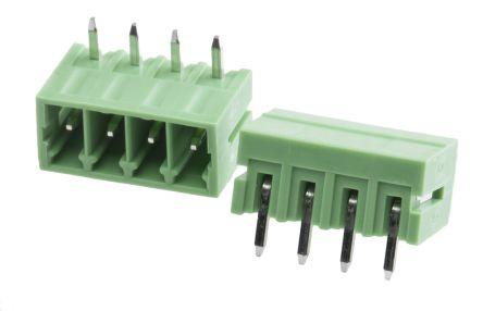RS PRO , 4 Way, 1 Row, Right Angle PCB Terminal Block Header (10)
