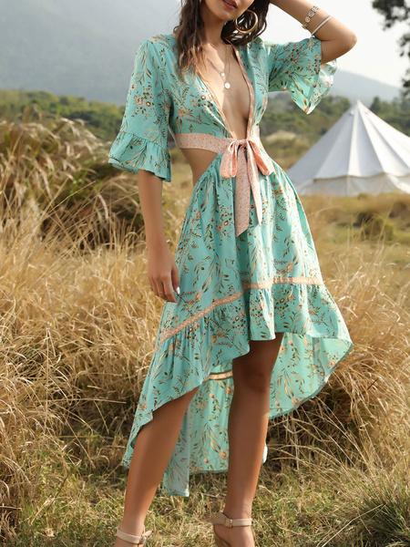 Milanoo vestido boho con cuello en v medias mangas estampado floral vestido de playa en capas