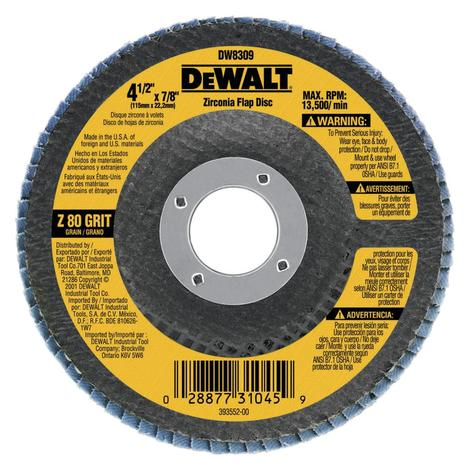 DeWalt 4-1/2-in x 7/8-in 80 Grit Zirconia Flap Disc