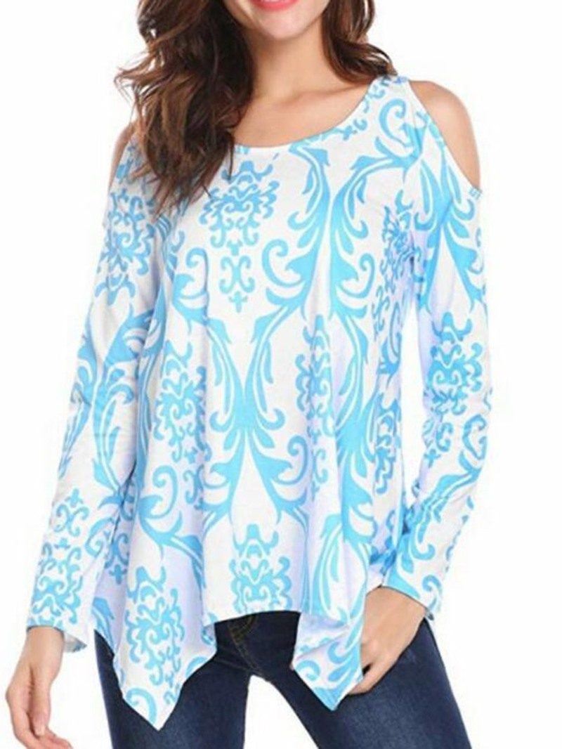 Ericdress Round Neck Print Long Sleeve Casual T-Shirt