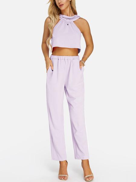 Yoins Light Purple Sleeveless High Waist Halter Co-ord
