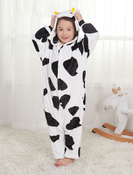 Milanoo Kids Kigurumi Pajamas 2020 Cows Unisex Black Onesie Winter Sleepwear Mascot Animal Halloween Costume