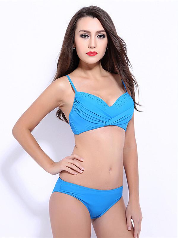 Plus Size Wrap Beading Crop Top Push-up Bikini Set