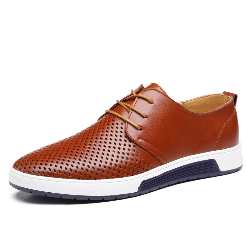 Men Round Toe Hollow Out Lace Up Hole Leather Shoes