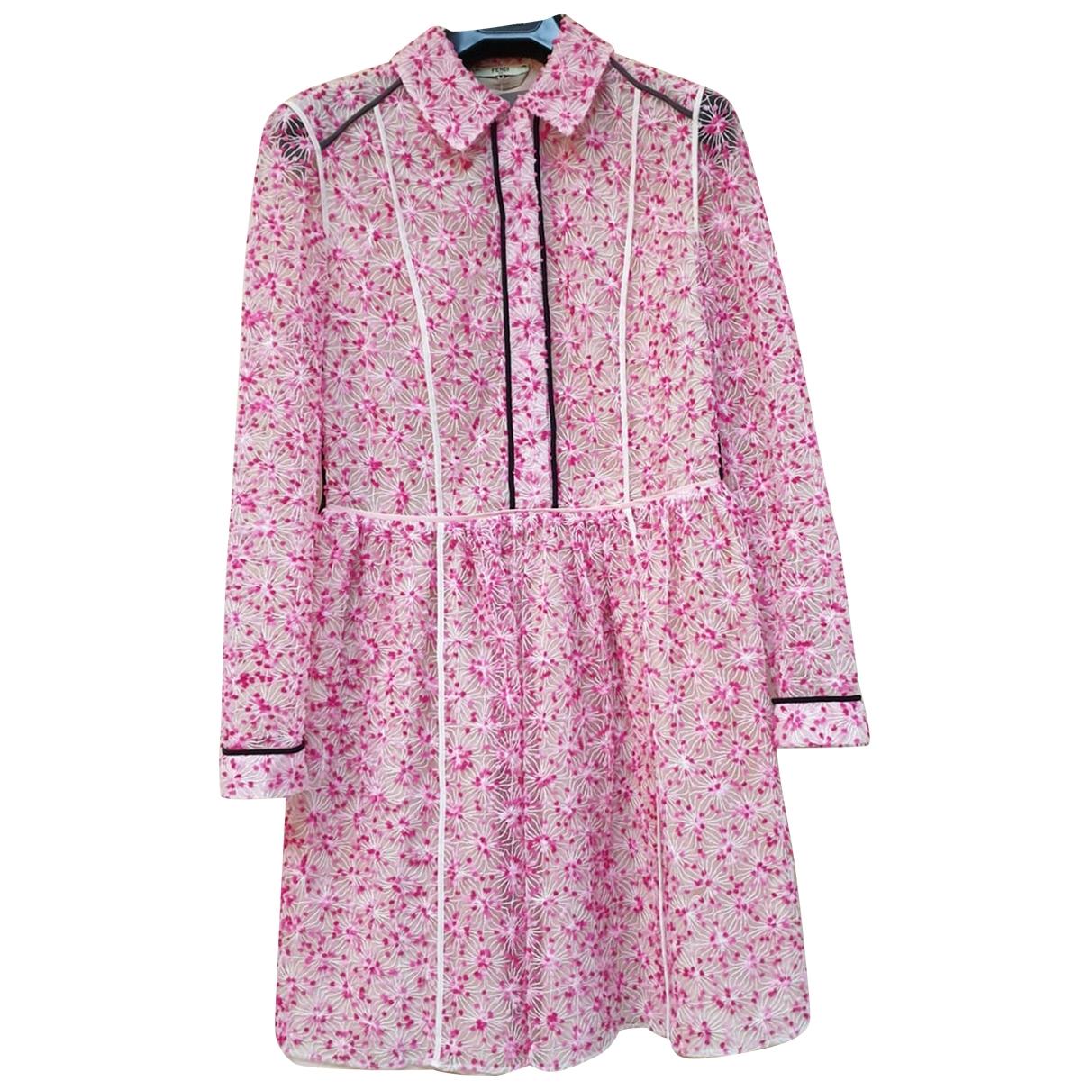 Fendi - Robe   pour femme en soie - rose