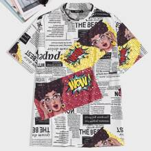 Maenner T-Shirt mit Stehkragen und Muster