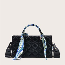Quilted Satchel Bag With Twilly Scarf