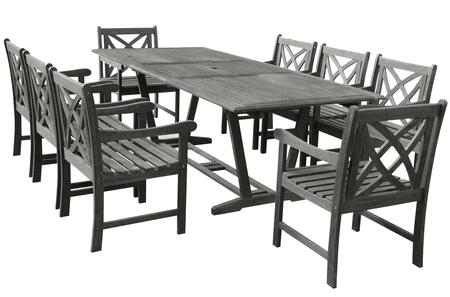 V1294SET12 Renaissance Eco-friendly 9-piece Outdoor Hand-scraped Hardwood Dining Set with Rectangle Extention Table and Arm