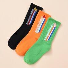 3 Paare Maenner Socken mit Buchstaben Grafik