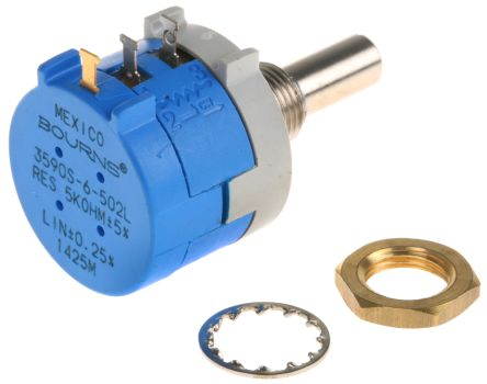 Bourns 1 Gang Rotary Wirewound Potentiometer with an 6 mm Dia. Shaft - 5kΩ, ±5%, 2W Power Rating, Linear, Panel Mount