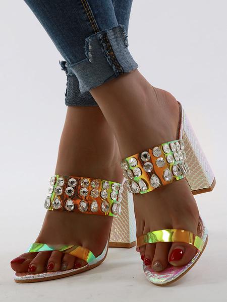 Milanoo El oro de la sandalia Zapatillas Mujeres punta abierta de diamantes de imitacion Chunky talon Resbalon de la sandalia de Diapositivas