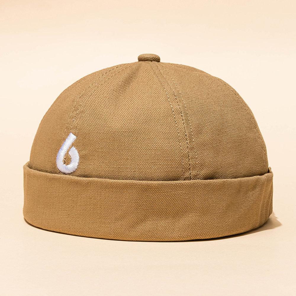 Women Men Letter Embroidery Brimless Hat Solid ColorRetro Skull Caps
