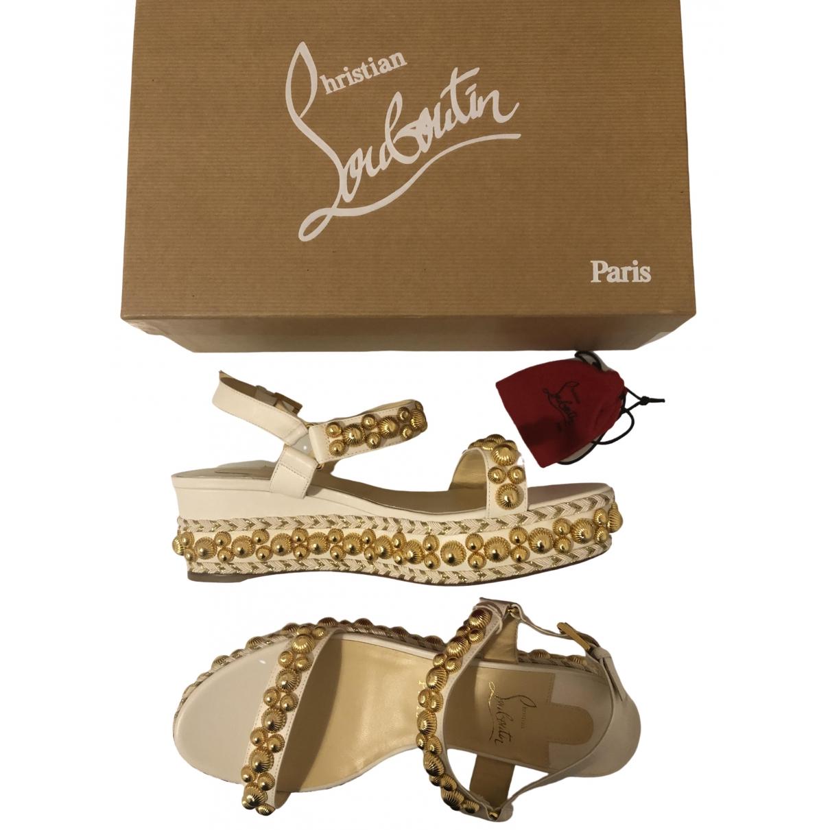 Christian Louboutin Cataclou White Leather Sandals for Women 39 EU