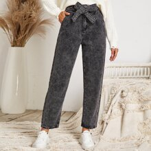Gray Wash Belted Mom Jeans
