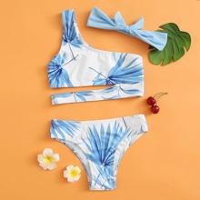 Bikini Badeanzug mit Blatt Muster und Stirnband