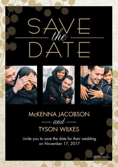 Save the Date Flat Matte Photo Paper Cards with Envelopes, 5x7, Card & Stationery -Black and Gold Save the Date Photo