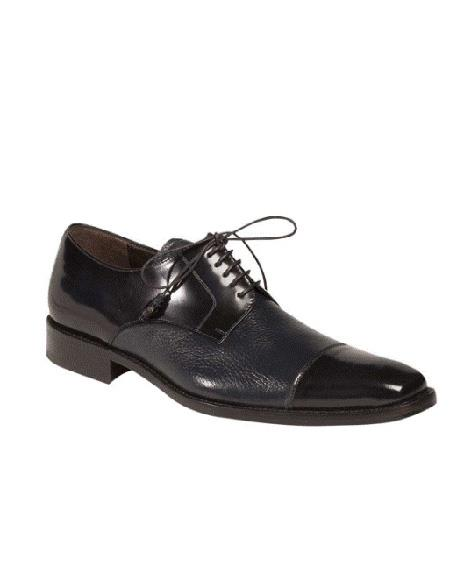 Mezlan Brand Cap Toe Five Eyelet Lacing Blue Cushioned Insole Shoe