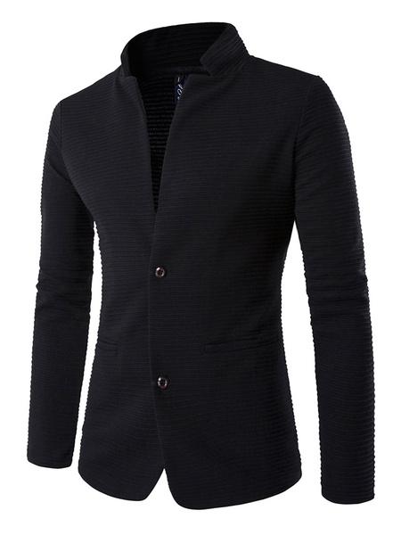 Milanoo Black Suit Jacket Two Button Stand Collar Slim Fit Blazer For Men