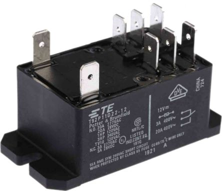 TE Connectivity , 12V dc Coil Non-Latching Relay DPDT, 30A Switching Current Flange Mount, 2 Pole