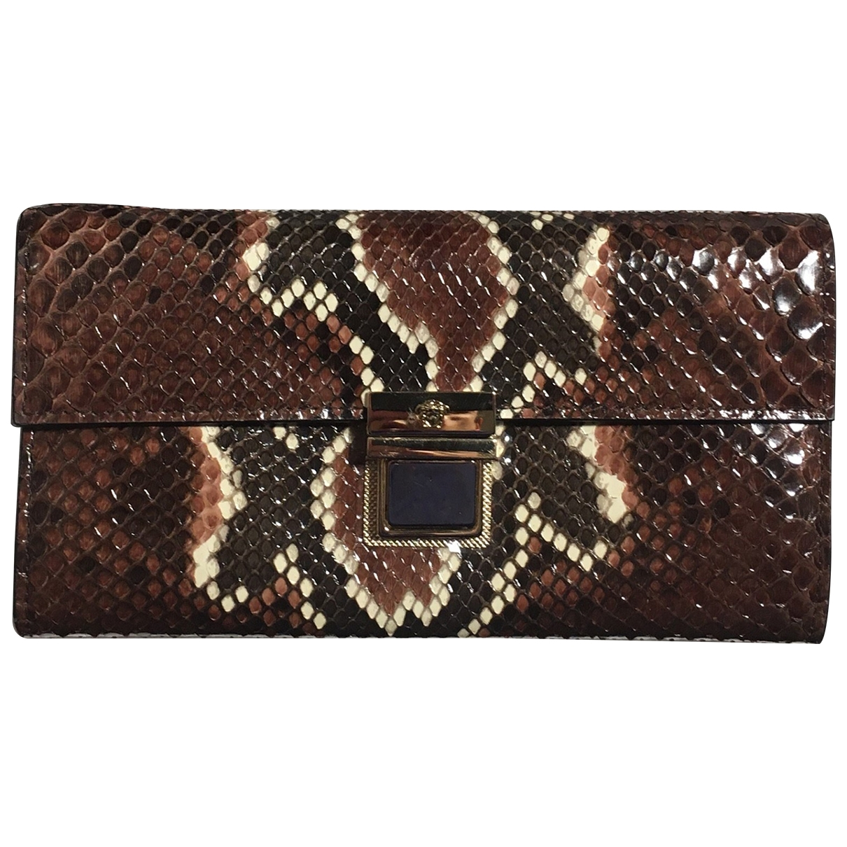 Versace \N Brown Python wallet for Women \N