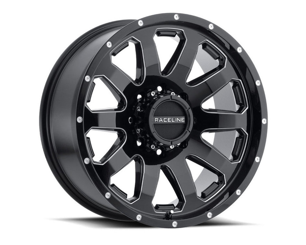 Raceline 938M Enforcer Gloss Black Milled Wheel 20X9 8X165.1 18mm