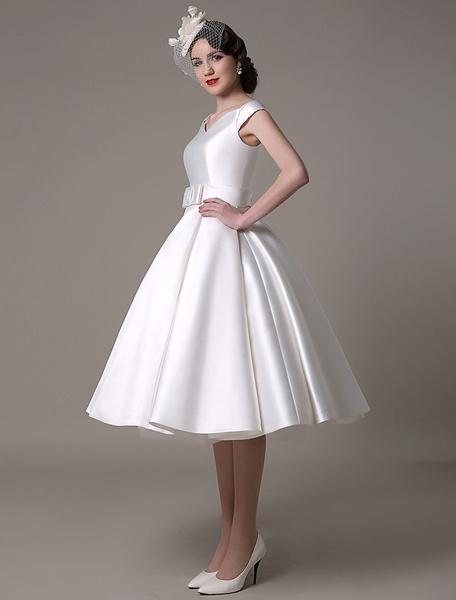 Milanoo Ivory Wedding Dresses 2020 short satin  Knee Length bow Sash retro  bridal dress