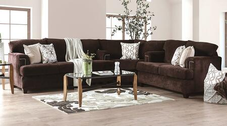 Brynlee Collection SM6410-SECT 3-Piece Sectional with Sofa  Corner and Loveseat in Chocolate Color (Pillows Not