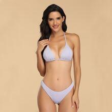 Rib Triangle Halter High Cut Bikini Swimsuit